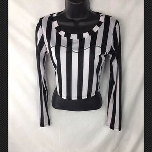 La Hearts Top Half Shirt Small Striped Womens